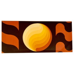 Mid-Century Modern Stretched Abstract Sun Textile Art