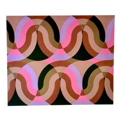 Mid-Century Modern Rare Textile Wall Art Titled Circuit by Peter Perrit