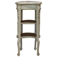 19th Century French Louis XVI Painted Nightstand with Marble & Cane