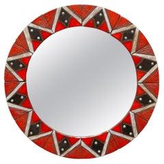 Glazed Ceramic Mosaic Tiles Round Mirror 1960s Belgium by Oswald Tieberghien