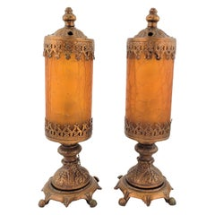 Pair of Antique Styled Accent or Boudoir Table Lamps with Crackle Glass Shades