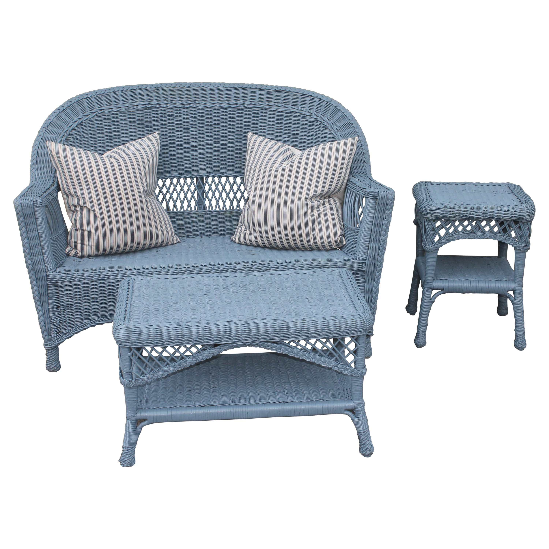 20thc Wicker Sofa & Side & Coffee Table