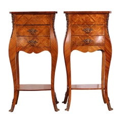 Pair of French Louis XV Style Kingwood Bombe Parquetry Nightstands