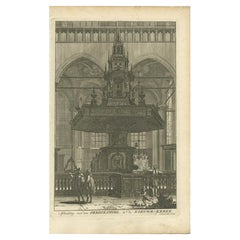 Old Print Depicting the Preacher's Pulpit of a Church in Amsterdam, 1765