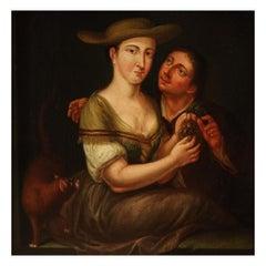 18th Century Oil on Oak Panel Flemish Antique Genre Scene Painting, 1770