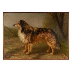 Antique Dog Painting of a Scottish Collie by Zélia Klerx Oil on Canvas