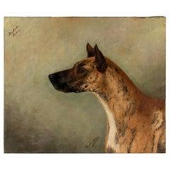 Antique Portrait of a Great Dane by Zélia Maria Klerx Oil on Canvas