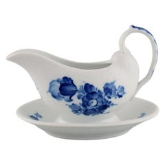 Royal Copenhagen Blue Flower Braided Sauce Boat on Fixed Stand