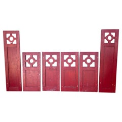 Unusual Arts and Crafts House Shutters, Old Red Paint