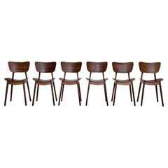 Mid Century Set of Six Oak Wood Dining Chairs by Roger Landault, France, 1950s
