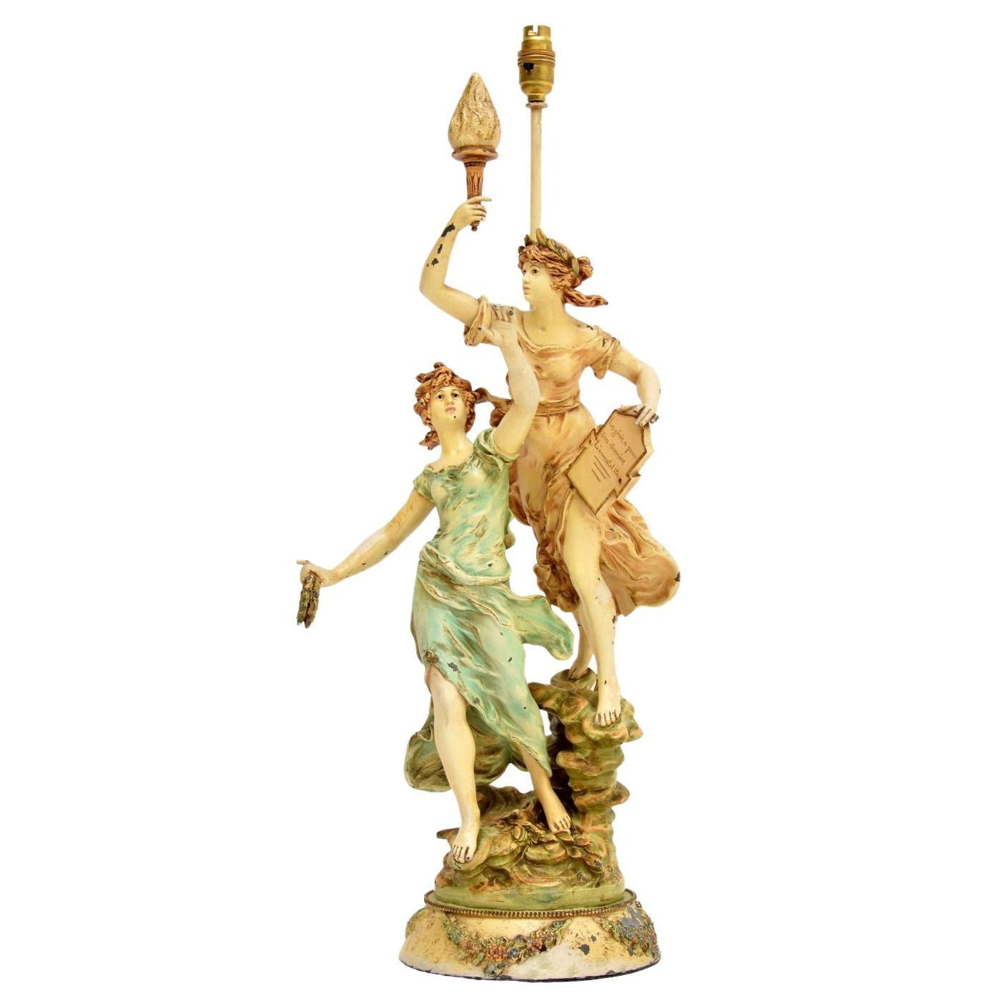 Antique Art Nouveau Table Lamp by L & F Moreau