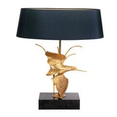 Midcentury Italian Brass Sculptured Table Lamp by GM Italia Dark Blue Lamp Shade
