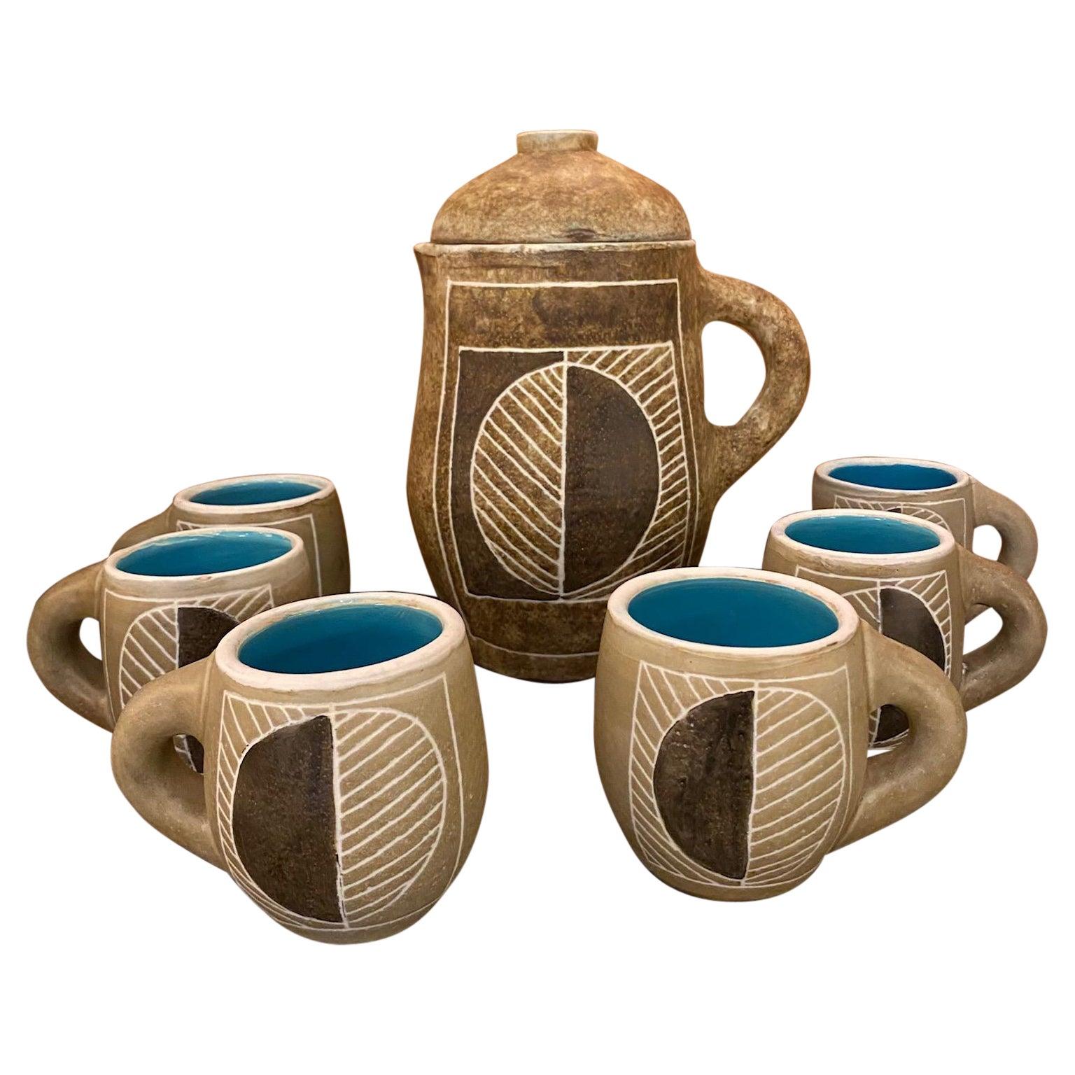 Coffee Service / Orangeade Set, Ceramic by Les 2 Potiers, France, 1960s