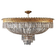 Luxurious Oval Shaped Crystal and Brass Chandelier, Italy, 1940