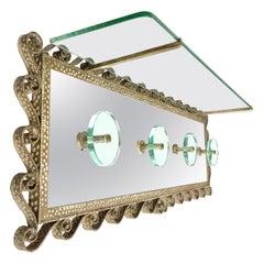 Pier Luigi Colli for Cristal Art Coat Rack Stand Iron Mirror Glass Italy 1950s