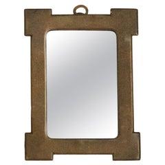 Italian, Very Small Wall Mirror, Brass, Mirror Glass, Italy, 1940s