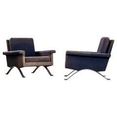 20th Centuri Ico Parisi Cassina Couple of Armchairs Mod. 875 Metal and Fabric