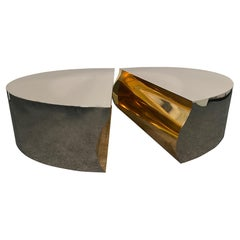 American Modern Stainless Steel Bronze Center Freeform Cocktail Table