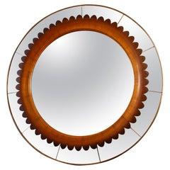 Circular Carved Walnut Wall Mirror by Fratelli Marelli, Italy, 1950'