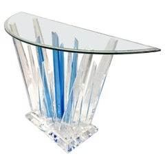 Rock Acrylic Sky Blue Clear Abstract Console with Half Moon Bevelled Glass