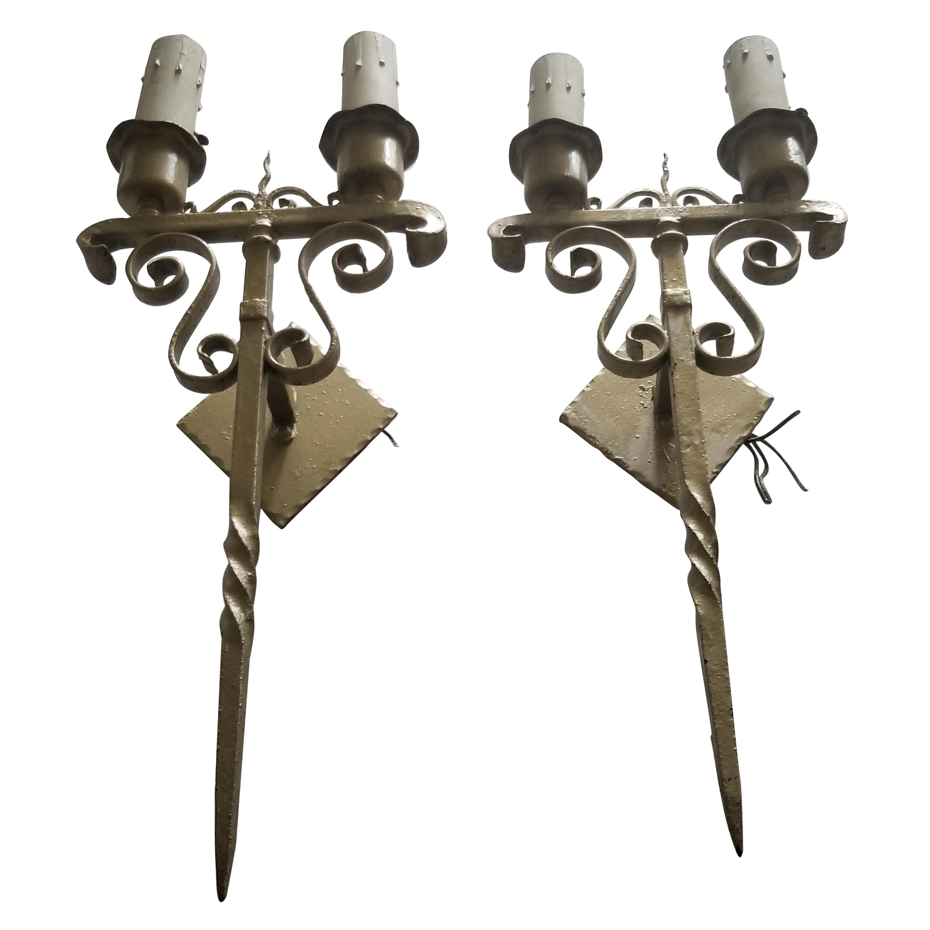 Gold Gothic Wrought Iron Scroll Electric Candelabra Candle Wall Sconces 1960s