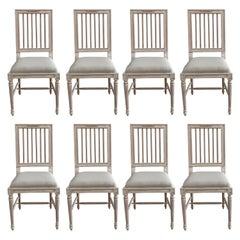 Swedish Style Upholstered and Painted Dining Chairs Set of 8