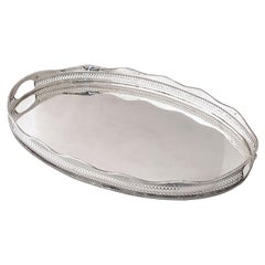 Large English Silver Oval Gallery Serving or Drinks Tray