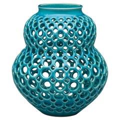 Pierced Ceramic Vessel-Turquoise Aveline