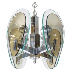 1970's Green and Smoked Glass Pendant Light in the Style of Fontana Arte, Italy