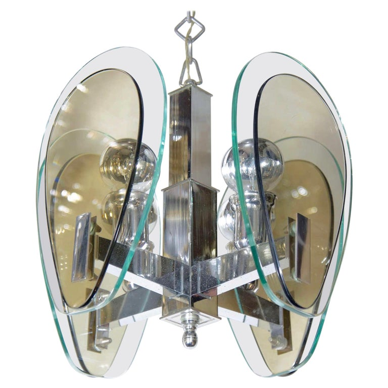 1970's Green and Smoked Glass Pendant Light in the Style of Fontana Arte, Italy For Sale
