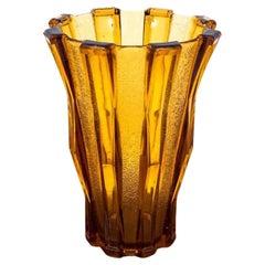 Honey Glass Vase by Henri Heemskerk for Verreries De Scailmont, Cubist, Belgium