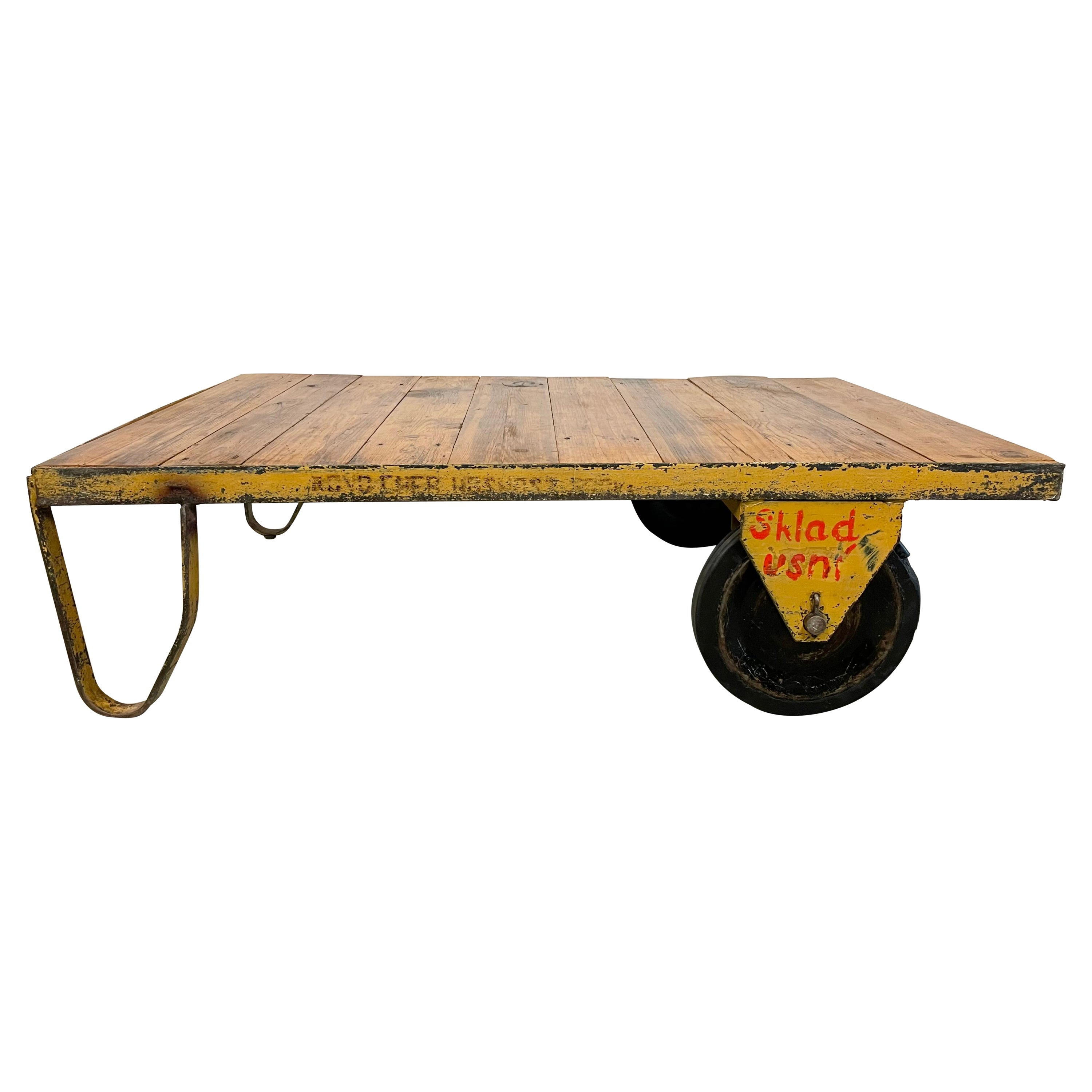 Large Yellow Industrial Coffee Table Cart, 1960s