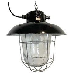 Vintage Industrial Black Enamel Factory Hanging Lamp, 1960s