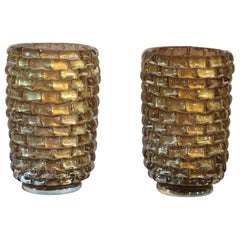 Pair of Large Gold Color and Iridescent Murano Glass Vases