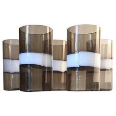 Fulvio Bianconi 5 Glasses Murano Glass, 1955, Italy