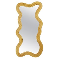 Italian Contemporary Bamboo Wall Mirror
