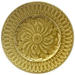 French Yellow Majolica Acanthus Plate, circa 1890
