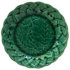 Green Majolica Leaves Plate, circa 1890