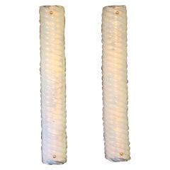 Pair of Long Iridescent Murano Glass Sconces