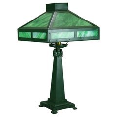 Antique Arts & Crafts Mission Wrought Metal Slag Glass Table Lamp Circa 1920