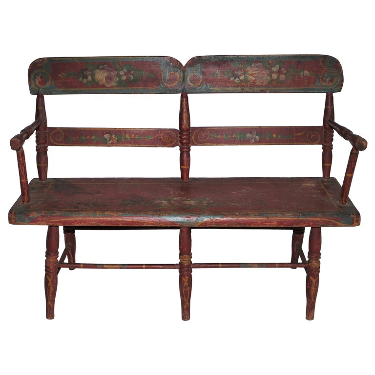 19thc Original Painted Miniature Settee From Pennsylvania For Sale