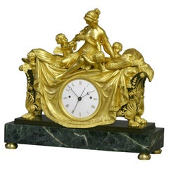c.1812 English Patinated, Ormolu and Marble Figural Mantle Clock