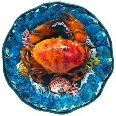 Large Majolica Palissy Crab Wall Platter Vallauris, circa 1950