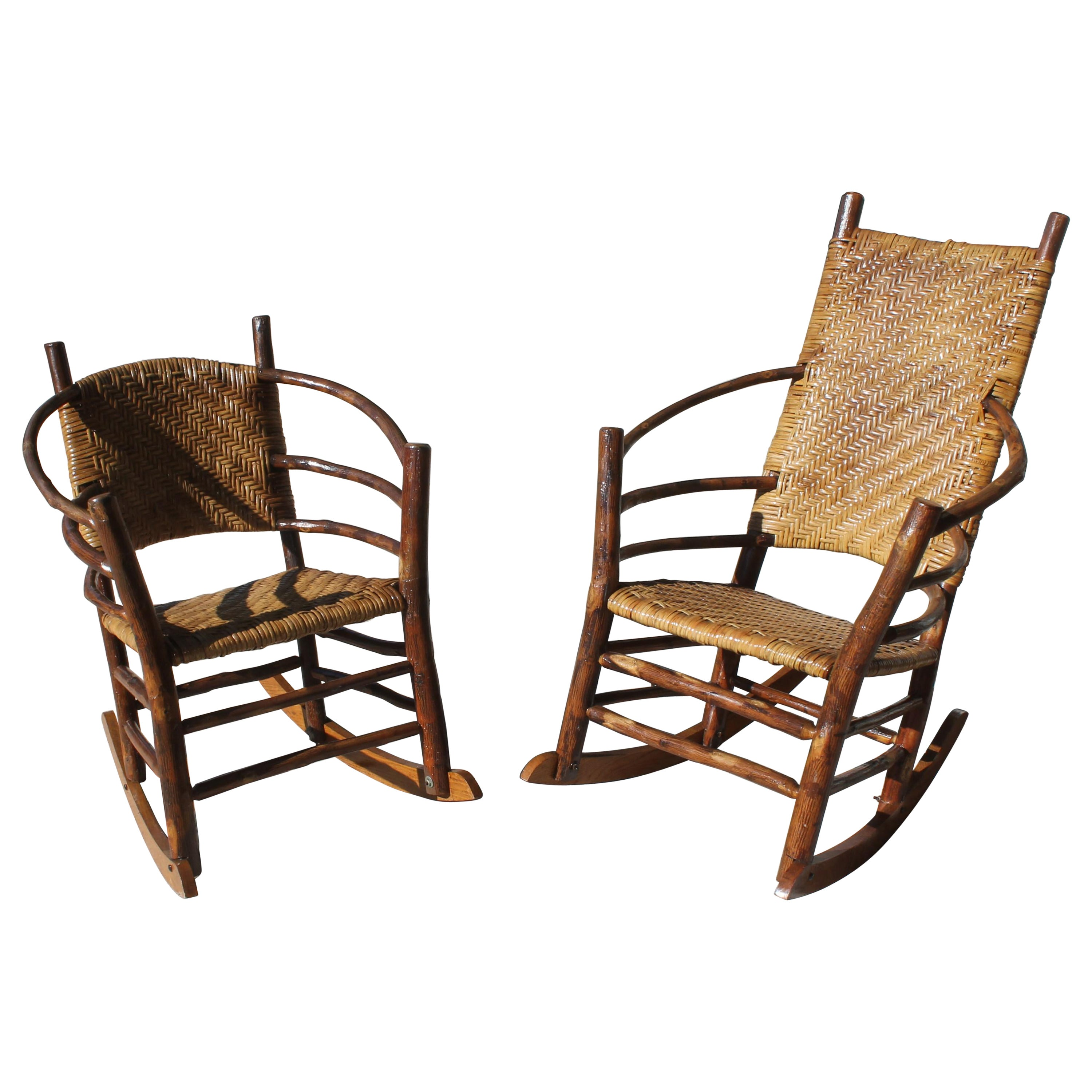 Signed Old Hickory Rocking Chairs, Pair