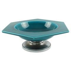 Paul Milet for Sevres Art Deco Bronze and Turquoise Ceramic Centerpiece Bowl