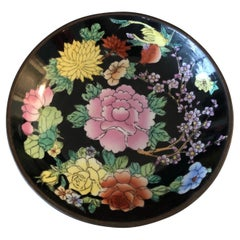 Vintage Chinese Black and Yellow Decorative Plate