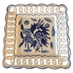 Porcelain Blue and White Dish with Pierced Border Edge