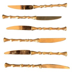 Set of Six Faux Bamboo 24K Gold-Plated Vintage Spreading Knives