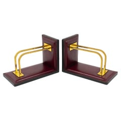 Jacques Adnet Hand-Stitched Leather and Brass Bookends