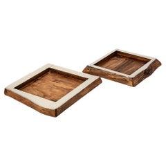Chalten Mini Large Wood & Alpaca Silver Square Tray